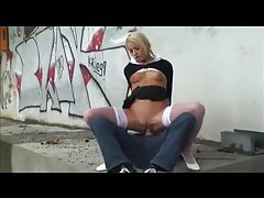 Hot schoolgirl fucked outdoors under the highway tubes