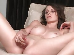 Perfect natural boobs on shaved girl with toy tubes