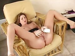 Legs spread so the toy can make her pussy happy tubes