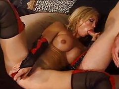 Hottie in tasty stockings fucked hard tubes