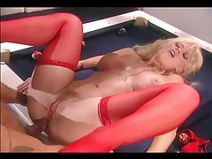 He puts blonde on the pool table to fuck her tubes