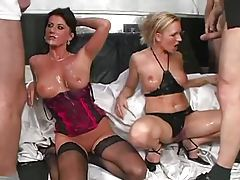 Two lingerie sluts in a bukkake scene tubes