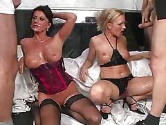 Two lingerie sluts in a bukkake scene tubes