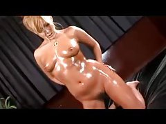 Japanese girl oiled up and touching her body tubes