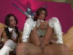 Tasty bitches in boots fucked in threesome tubes