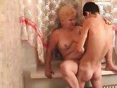 Fat old blonde fucked in her cunt tubes