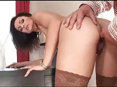 Hot slut in stockings sits on a cock tubes