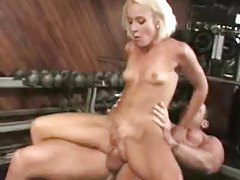 Skinny slut on a weight bench hammered tubes
