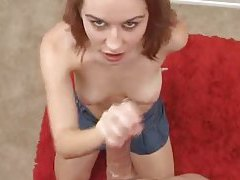 Cute redhead in a skirt gives POV blowjob tubes