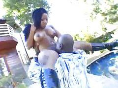 She sucks his big black rod outdoors tubes