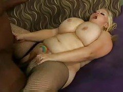 Hot fishnets fatty with belly tattoo screwed tubes