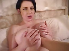 Feet rubbed all over her big tits tubes