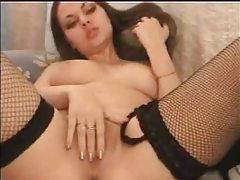 Great webcam show from babe in fishnets tubes