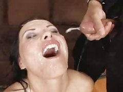 Tons of cumshot facials for slut in stockings tubes