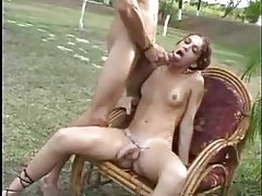 Shemale rides cock with her ass outdoors tubes