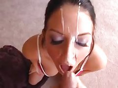 Big ropes of cum across her pretty face tubes