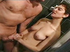 Wicked hair girl gives handjob in shower tubes