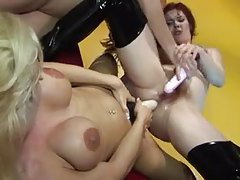 Insertions and strapon in lesbian threesome tube