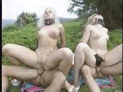 Hot collared blondes have anal sex outdoors tubes