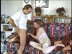 His mature wife strokes and sucks his dick tubes