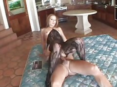 Beautiful girl in a body stocking does double anal tubes