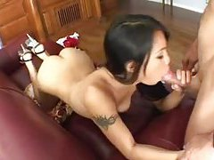 Asian Lucy Thai sucks white dick tubes
