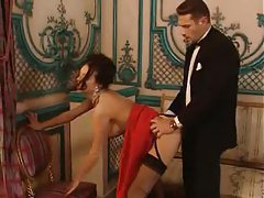 Glamorous girl in party dress fucked hard tubes