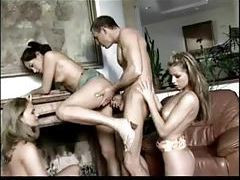 He gets frisky with three hot ladies tubes