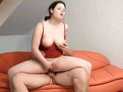 Curvy and cute and riding a fat guy cock tubes