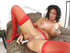 Deauxma toys asshole in red stockings tubes