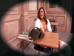Schoolgirl lustily teases her teacher tubes