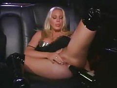 Lesbian sex and bottle fucking in a limo tubes