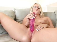 Sweet and hot young blonde dildo banging tubes