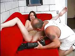 Skinny girl sucks on that thick old dude dick tubes