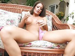 She pulls her nipples and plays with her pussy tubes