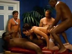 Guys line up to cum on and inside this whore tubes