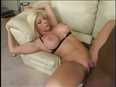 Blonde with fake tits loves big black cock tubes