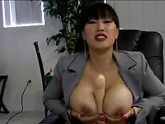 Asian office babe with big tits plays solo tubes