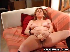 Busty mature amateur wife toying her ass and pussy with sextoys tubes