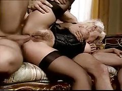 The French maid fucked in classic threesome tubes