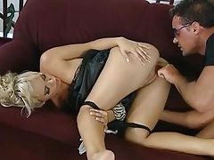 Glamorous blonde beauty blowjob and anal tubes
