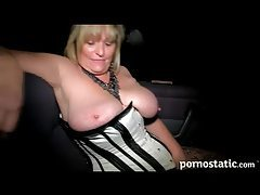 Chubby milf pornstar sucks dick in the car tubes