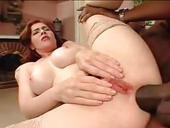 Redhead with a hairy box has BBC in her ass tubes