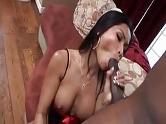 Asian with perfect tits in lingerie sucks big cock tubes
