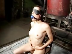 Ball gagged Sasha Grey gets flogged tubes
