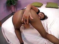Latina in sexy black pantyhose pounded tubes