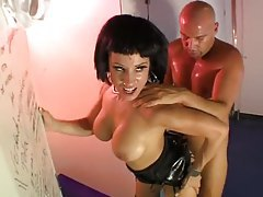 Dude gets sweaty fucking a slut in a shiny dress tubes