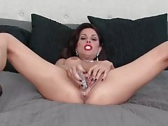 Hot girl in red lipstick toys her tight vagina tubes