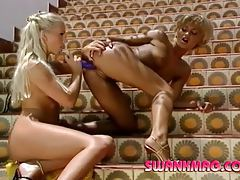Skinny blondes toy fuck and make out in the sun tubes