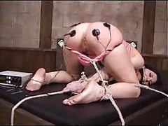 Lesdom bondage and pain with electro shock tubes
